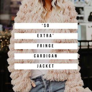 Cream Fringe Open Front Cardigan Jacket